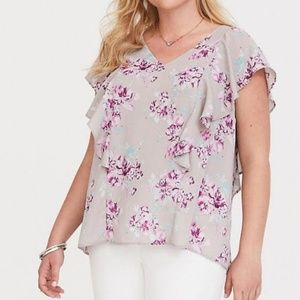Torrid Floral Ruffled Peasant Boho Blouse Top
